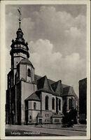 Leipzig Sachsen DDR s/w Postkarte 1954 Straßenpartie an der Nikolai Kirche Auto