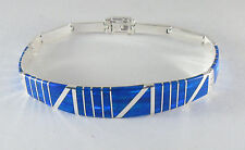 ".950 silver dark blue opal bracelet with long curved centerpiece 7 1/2"" long"