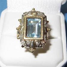 Antique Art Deco Ring 14K Gold Aquamarine Diamond Ring Spectacular Aquamarine