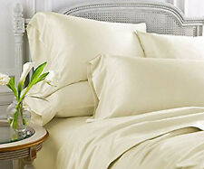 IVORY SOLID QUEEN SIZE BED SHEET SET 800 THREAD COUNT 100% EGYPTIAN COTTON