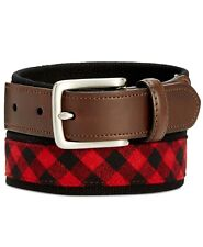 $115 CLUB ROOM Men's RED BLACK CHECK HARNESS BUCKLE WEBBED COTTON DRESS BELT 44