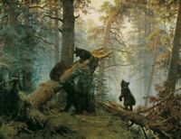 Ivan Shishkin Morning in a Pine Forest Bears Wal Art Poster Print on Canavs 8x10