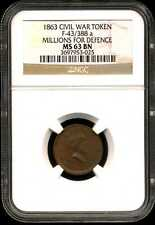 1863 Civil War Token F-43/388 a Millions for Defence Ms63 Bn Ngc 3697953-025