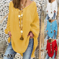 New Women Tunic V-neck Tops Long Sleeve Blouse Shirt Pullover Casual Fashion