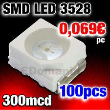 188/100# LED rouge CMS SMD   PLcc2 / 3528 -- 100pcs-- 300mcd  red SMD LED