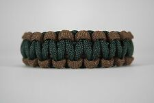 550 Paracord Survival Bracelet Cobra Dark Brown/Emerald Green Camping Tactical