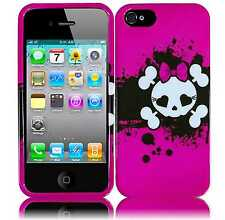For Apple iPhone 5 5S SE HARD Protector Case Snap On Phone Cover Pink Skull