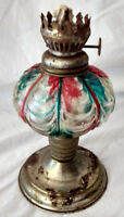 "Antique Oil Lamp Small Handpainted Red Blue Victorian 7"" Metal Base Lantern VTG"