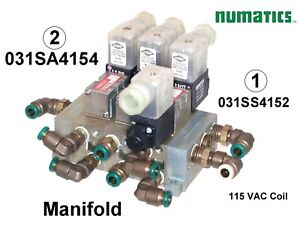 Numatics 031SS4152 Solenoid Valves Manifold with fittings 4 pos. 031SA4154