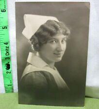 VINTAGE NURSE pretty female B&W photo 1920s cap & apron & wing collar WWI
