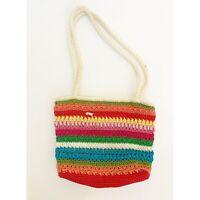Lina Woven Crochet Knit Multicolor Tote Purse Bag