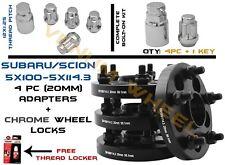 Complete Set Of Subaru Conversion Adapter 5x100 to 5x4.5 20MM+ Wheel Locks