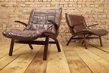 60s Retro EASY CHAIR DANISH LEATHER LOUNGE ARMCHAIR Vintage FARSTRUP DENMARK 1/2