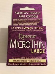 Lot of 6 Kimono Micro-thin Condom LARGE 3 pack