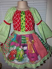 Shopkins  Fabric Christmas    Girls Dress Size 4t 22 in length