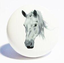 GREY HORSE HEAD HOME DECOR CERAMIC KITCHEN  KNOB DRAWER CABINET PULL