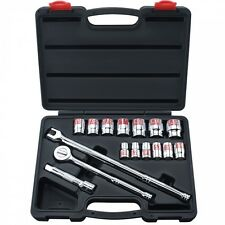 "17 Pc 1/2"" Drive Hi-Viz Socket Set SAE W/ Ratchet & Breaker Bar Auto Tools"