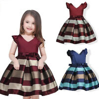 Kids Baby Bowknot Striped Girls Dress Formal Gown Party Pageant Dresses 3-10 Y