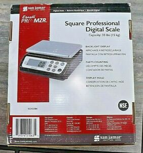 San Jamar SCDG33BK Square Professional Digital Scale, Black with Stainless Steel