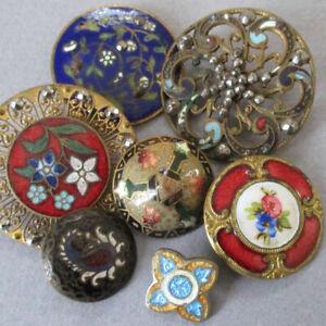 "Lot 7 Antique Buttons CHAMPLEVE Enamel HP Colorful FLOWERS Ornaments 1/2""-1 1/4"""