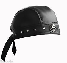 Leather Bandana Biker Doo Do Rag Headwrap Studded  Skull Cap Capsmith Du Rag