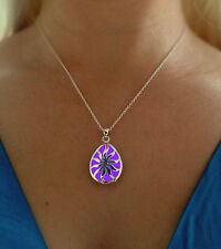 Purple Sun Glowing Drop Metal Pendant Glow in the Dark Jewelry Gift Necklace