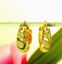 22K THAI BAHT DP YELLOW GOLD ~ UNIQUE FILIGREED ETERNITY HOOP EARRINGS