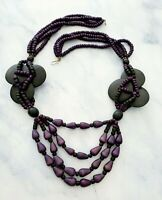 Vintage Wooden Purple and Black Beaded Multi-Strand Statement Necklace *MASSIVE*