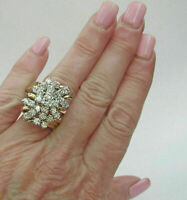 Huge 3.00 Carat Diamond Waterfall Cluster 14K Yellow Gold Over Cocktail Ring
