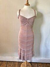 KAREN MILLEN Rose Gold & Nude Embellished Fine Knit Party Cocktail Dress Sz 1 8