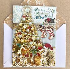 punch studio 6 christmas cards golden kittens 3d dimensional gold embellished