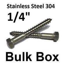 """(1000) 1/4"""" x 5"""" Stainless Steel Lag Screws Hex Head Lag Bolts 304 18-8 Bulk"""