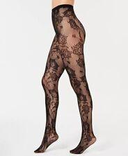 INC Floral Lace Tights Baroque Print Black Fishnet Women's Size M/L High Waist