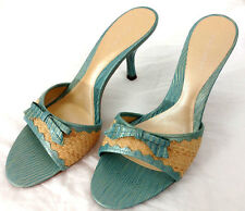 Nine West Shoes High Heels Womens Sz 9 Blue Beige Leather Reptile Bow Sandals