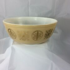 Vintage PYREX Promotional Brown Hex Signs Gold Bowl Mixing Bowl 4 Quart #404