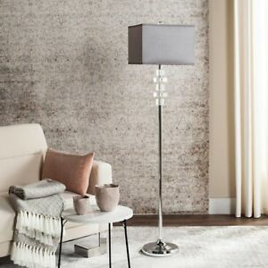 Floor Lamp 60.25 in. Crystal Base Rotary Switch with Clear/White Square Shade