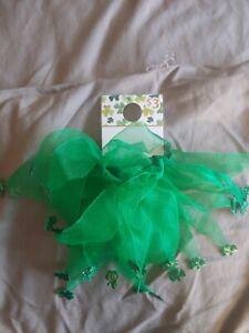 Green St. Patricks Day Hair Tie with shiny Shamrock tips