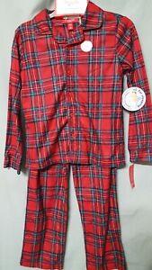 Macys Family PJs Kids Red Plaid Pajama Set Christmas Long Sleeve Unisex size 8