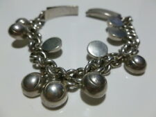 EARLY MEXICO MEXICAN STERLING SILVER WOMENS MODERN HEAVY CHARM BRACELET 7.5""