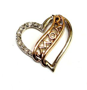 10k white rose gold .11cttw SI3 H diamond mom heart pendant charm 1.89g vintage