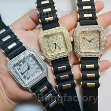 UNISEX HIP HOP FULL ICED BLACK SILICONE BULLET BAND SQUARE BLING WRIST WATCH