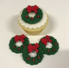6 Edible Sugarpaste  CRHISTMAS WREATHS Cupcake Toppers- CHRISTMAS