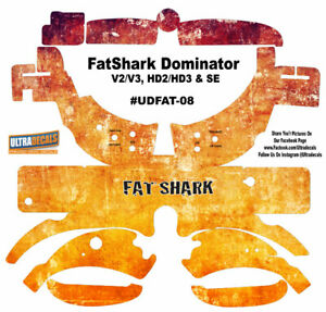 Fatshark Dominator V2 V3 HD2 HD3 Skin Wrap Aufkleber Fat Shark Brille Orange
