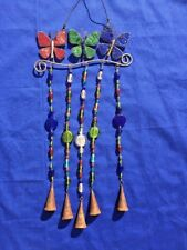 Vintage Made in India Wind Chime Butterfly Bell Glass Unique One Of A Kind ��