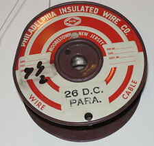 VINTAGE 26 AWG FABRIC COVERED COPPER WIRE ON METAL REEL! 3 1/4 LBS! PHILADELPHIA