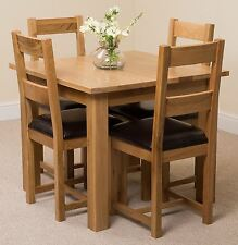 d2258221d5ed Oslo Solid Oak 90cm Square Dining Room Kitchen Table & 4 Brown Lincoln  Chairs