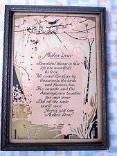 "Vintage ""Mother Dear"" Framed Motto Poem - 1920s Era - Buzza Like - Art Deco"