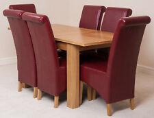 Hampton Oak 120cm Extending Dining Room Table & 4 Brown Leather Montana Chairs Burgundy