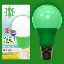 2x 6W LED Green Coloured GLS A60 Light Bulb Lamp BC B22, Low Energy 110 - 265V