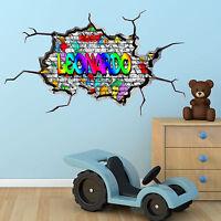 MULTI COLOUR PERSONALISED GRAFFITI NAME Brick Wall Sticker Decal Graphic bedroom